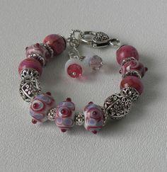 Danielle Handmade Beaded Bracelet Lampwork by bdzzledbeadedjewelry, $24.00