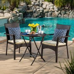 Noble House Nia 3 Piece Outdoor Wicker Bistro Set with Cushions, Multibrown, Creme, Brown Patio Furniture Sets, Home Decor Furniture, Furniture Design, Furniture Ideas, Wicker Furniture, Garden Furniture, Outdoor Rooms, Outdoor Decor, Outdoor Dining