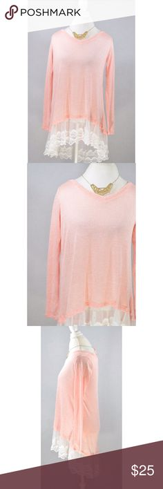 "Reborn J Lace Trim Pink Top New from manufacturer never worn tried on etc. 32"" L 18"" pit to pit Tops"