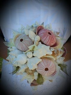 Beach Wedding Pastel Seashell Sea Urchin Shell Bouquet by seashellsbyseashore