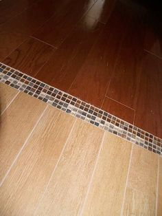woodlook tile to engineered hardwood with mosaic tile transitions - Wood Tile Flooring