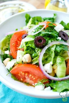Greek Salad --- This healthy salad comes straight from the islands of Greece. This tasty Greek salad is a classic Mediterranean diet recipe that's easy and delicious.