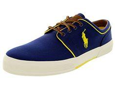 22862dcda Polo Ralph Lauren Faxon Low Fashion Sneaker Shoe - Navy Yellow - Mens - 9