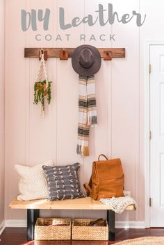 DIY a modern, functional coatrack with just some wood, stain, and leather. Click to get Monica's tutorial!