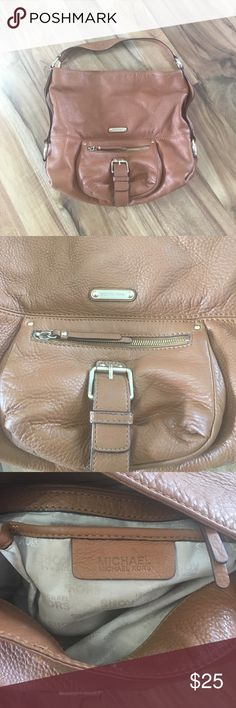 """Micheal Kors Leather Bag Soft brown leather bucket bag, buckle and zipper detail on front, there are a few pen marks inside/used but still a great summer bag! 13""""H (18.5""""H with strap) x 15""""W MICHAEL Michael Kors Bags Shoulder Bags"""
