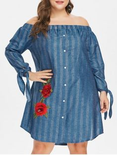 Find sales on Off The Shoulder Plus Size Floral Embroidery Dress and other deeply discounted products at Shop Scenes. Fall Dresses, Cheap Dresses, Casual Dresses, Short Dresses, Plus Size Dresses, Plus Size Outfits, Floral Embroidery Dress, Straight Dress, Sammy Dress