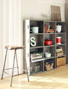 this... is... perfect. stacked wooden crates = industrial-chic shelf. #DIY #interior