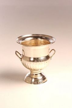 "great silver 4"" flower urn for low, small arrangements on tables"