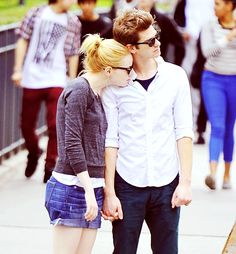 Emma Stone with Andrew Garfield. Cute as F*@%!