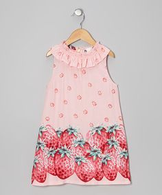Look what I found on #zulily! Pink Strawberry Yoke Dress - Infant, Toddler & Girls #zulilyfinds