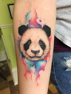 Panda Tattoo done with watercolour. Prestige Tattoos by Steve Baker, Guelph Ontario