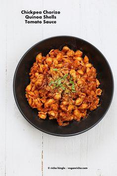 Chickpea Chorizo, Quinoa Shells in Tomato sauce. Vegan Glutenfree Pasta Recipe - Vegan Richa - skip the oil