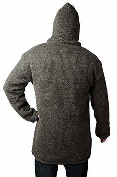 TCG Men's Winter Coat – Hand Knit Wool Outerwear Hoodie – Long, Natural Brown