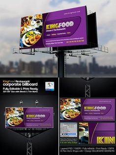 Corporate Restaurant Billboard Signage Template Psd