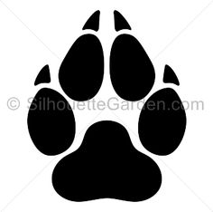 Wolf paw print silhouette clip art. Download free versions of the image in EPS, JPG, PDF, PNG, and SVG formats at http://silhouettegarden.com/download/wolf-paw-print-silhouette/