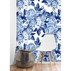 Removable Wallpaper Mural Peel & Stick Self Adhesive Wallpaper Blue Peonies Flowers Chinoiserie Style Bedroom Wallpaper Accent Wall, Bathroom Wallpaper, Vinyl Wallpaper, Self Adhesive Wallpaper, Wallpaper Roll, Peel And Stick Wallpaper, Wallpaper Murals, Chinoiserie Wallpaper, Wall Murals