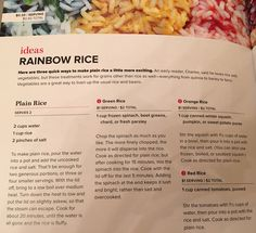 Rainbow rice: Spinach, squash, or tomatoes
