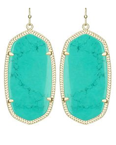 Danielle Statement Earrings in Teal - Kendra Scott's best selling earrings featuring a new blue stone are absolutely stunning complete with gold setting.