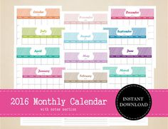 Printable 2016 Monthly Calendar with notes by MBucherConsulting 12 Month Calendar, 2016 Calendar, Printable Planner, Printables, Printable Calendars, 2016 Planner, Trip Planning, Planners, Notes