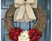 spring wreath, dark cranberry red and cream hydrangea wreath with double burlap bow, housewarming, wedding, gift, mothers day, door wreath