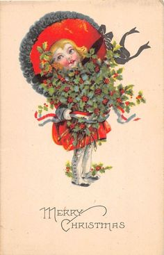 A30/ Merry Christmas Postcard c1910 Hermansville Michigan Girl Large Hat 12