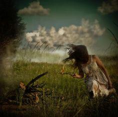 Brooke Golightly (brooke golightly photography brunette girl woman sitting grass fire stick clouds blue sky)