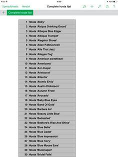 List of Hosta Plants