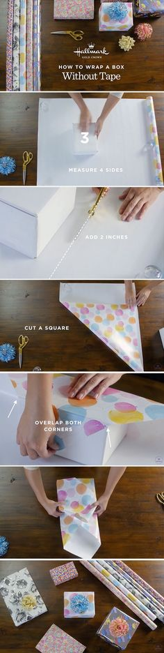 Follow these easy steps to learn how to wrap a gift without tape. Then click through to shop beautiful Hallmark gift wrap.