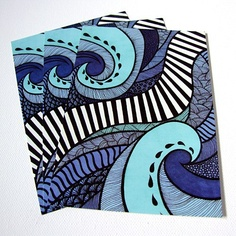Tidal - Art Postcard by Lorrie Whittington of IllusioCreative, £2.00 #artpostcard #artcard #seaillustration