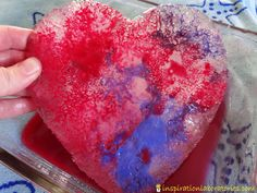 Colorful Science Investigation: Salt + Ice Hearts