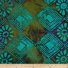 Indian Batik Floral Diamonds Neon Turquoise