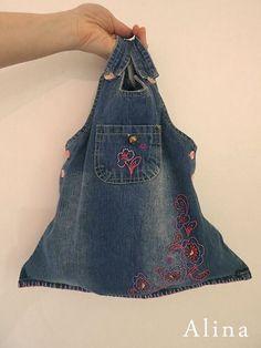 Jean bag made from a little girls dress