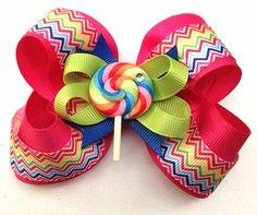 Dog collar bow accessory velcro add on bow Lollipop by CreateAlley, $12.00