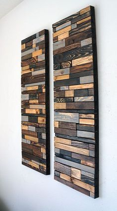 This piece is made to order. Lead time for shipping is 4 to 6 weeks.  The photo shown is a previously sold beautiful modern art piece made with reclaimed wood. We sanded and stained each piece of wood by hand using 4 different shades of stain, keeping the rustic look of the wood by bringing out the grain while also giving it a modern touch by the way the wood pieces are positioned together. This piece can be hanged vertically or horizontally to add a modern rustic look to your home or…