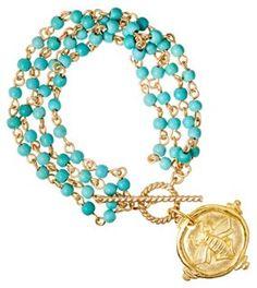 Bee Charm & Turquoise Bracelet
