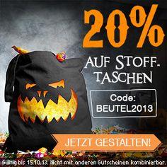 Jetzt kommt's noch dicker. 20% auf alle Stofftaschen mit dem Gutscheincode BEUTEL2013 bis zum 15.10.2013 http://www.t-shirt-mit-druck.de/accessoires-selbst-gestalten.htm