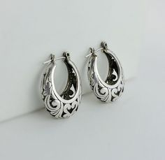 Hoop Earrings - Oval Hoop Earrings - Sterling Filigree Hoop Earrings - Vintage Silver Hoop Earrings - Heart Hoop Earrings Don't Miss A THING! Visit and follow our shop for more great finds! https://OrderOfDisorder.etsy.com