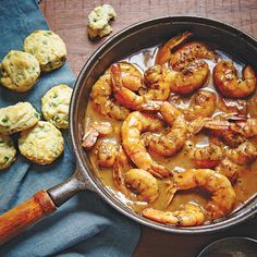 For a flavorful, Southern-style dish, serve this Easy Barbecue Shrimp with Jalapeno Biscuits.
