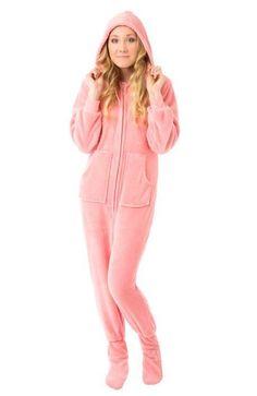 a0e12102b0 Big Feet Pjs Pink Hooded Plush Adult Womens Footed Pajamas Sleeper