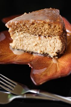 Brown Butter Pumpkin Cake Cheesecake with Salted Caramel