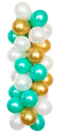 TIFFANY - White, Gold and Turquoise Latex Balloons for Birthday, Bridal or Baby