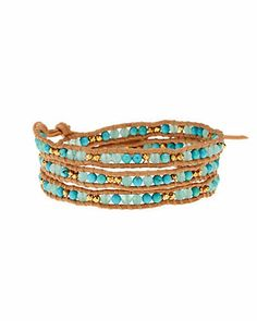 Some of you have to get in on this: Chan Luu 14K Over Silver & Leather Gemstone Triple Wrap Bracelet