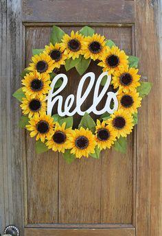 Sunflower Wreath, Spring Wreath, Summer Wreath, He Sunflower Room, Sunflower Wreaths, Sunflower Home Decor, Sunflower Crafts, Sunflower Decorations, Yellow Home Decor, Sunflower Bathroom, Sunflower Themed Kitchen, Floral Wreaths