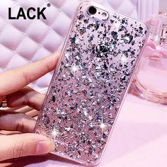 Lámina de oro rosa de bling paillette de lentejuelas cubierta para iphone 6 caso para el iphone 6 S 6 Más 5 5S SÍ Fundas de Piel Clara Suave TPU Ultra Delgada