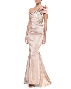 Cosima+One-Shoulder+Twist-Front+Iridescent+Gown,+Rose+by+Talbot+Runhof+at+Neiman+Marcus.