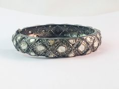 Genuine Pave Diamond Excellent Designer Rose Cut Diamond Bangle - 925 Sterling Silver, Diamond Bangle with Openable Lock by Amitbardia on Etsy