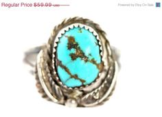 On Sale Vintage Navajo Sterling Silver & Genuine Turquoise Ring size 7