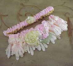 Pink Yellow Wedding Garter Set/ Lace by Weddingzilla on Etsy Wedding Garter Lace, Lace Garter, Satin Roses, Pink Satin, Pink Yellow Weddings, Yellow Roses, Handmade Flowers, Spring Flowers, Etsy