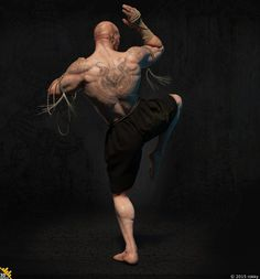 Fighter Muay Boran, Sergey Kudryavtsev/Сергей Кудрявцев on ArtStation Action Pose Reference, Body Reference, Action Poses, Anatomy Reference, Muay Boran, Fitness Workouts, Fitness Tips, Karate, Fighting Poses