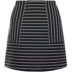 Black Stripe A-Line Skirt ($26) ❤ liked on Polyvore featuring skirts, mini skirt, black striped skirt, knee length a line skirt, striped skirt and black skirt